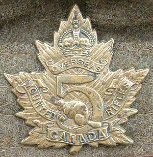 Cap badge of the 5th Battalion Canadian Mounte...