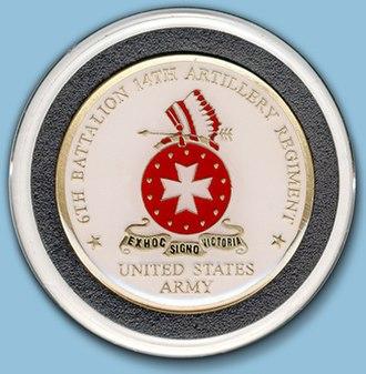 6th Battalion, 14th Field Artillery (United States) - 6th Battalion 14th Field Artillery challenge coin (face)