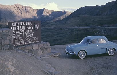 This Renault Dauphine at the top of the Continental Divide, in Colorado, USA in August, 1964 6408-LovelandPassCOLO.jpg