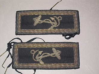 Passed midshipman - Shoulder straps used by passed midshipman T.R. Young on the USS Brandywine. The shoulder straps were tied on to the uniform coat with shoe strings. The straps are circa 1860's.