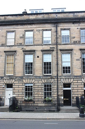 Alan Archibald Campbell-Swinton - 9 Albyn Place, Edinburgh, Campbell-Swinton's Edinburgh home has a plaque to his memory