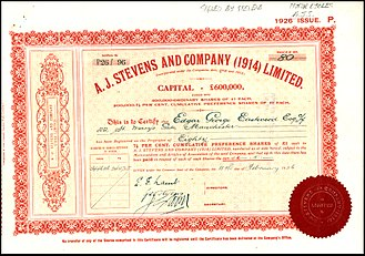 AJS - Preference Share of the A. J. Stevens and Company (1914) Ltd., issued 11. February 1926