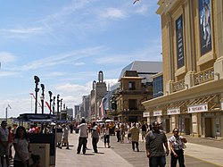Atlantic City's boardwalk in May 2007, looking south outside Caesars.