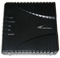 A picture I took of a Westell Model 6100 ADSL ...