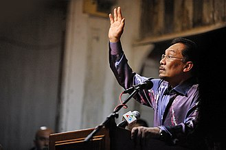 Anwar Ibrahim - Anwar Ibrahim speaks at an election campaign as opposition leader.