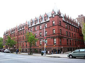 Manhattan Valley - American Youth Hostels building at Amsterdam and 103rd, formerly the Residence for Respectable Aged Indigent Females, is one of architect Richard Morris Hunt's few surviving projects in New York City.