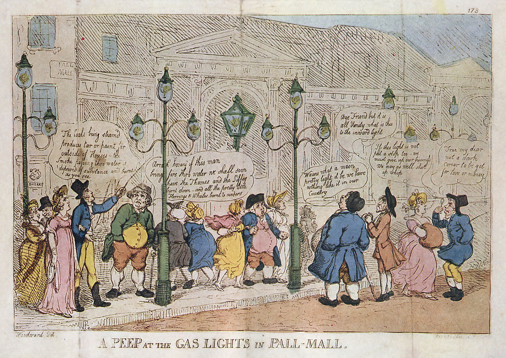 File:A Peep at the Gas Lights in Pall Mall Rowlandson 1809