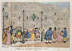 History of manufactured gas - A Peep at the Gas-lights in Pall Mall: A contemporary caricature of Winsor's lighting of Pall Mall, by George Rowlandson (1809)