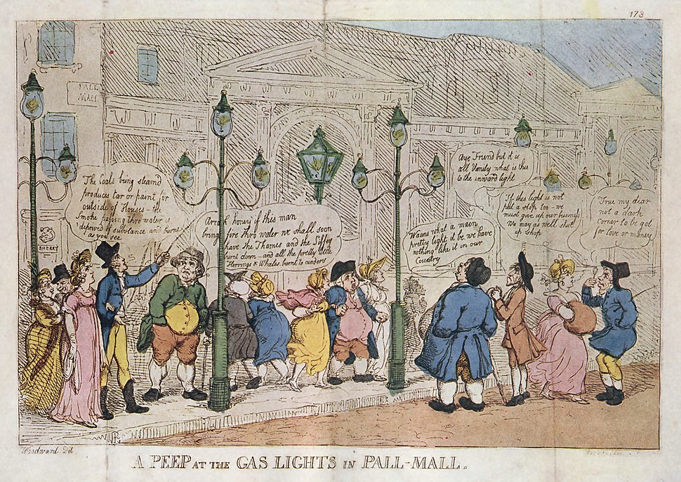 A Peep at the Gas Lights in Pall Mall Rowlandson 1809