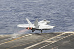 A U.S. Navy F-A-18E Super Hornet aircraft attached to Strike Fighter Squadron (VFA) 143 launches off the flight deck of the aircraft carrier USS Dwight D. Eisenhower (CVN 69) in the U.S. 5th Fleet area 130608-N-MD211-211.jpg