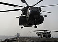 A U.S. Navy MH-53E Sea Dragon helicopter assigned to Helicopter Mine Countermeasures Squadron (HM) 15 takes off from the flight deck of the afloat forward staging base USS Ponce (AFSB(I) 15), as the Canadian 130515-N-ZZ999-004.jpg