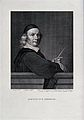 A middle-aged mathematician standing before a blackboard, on Wellcome V0025321.jpg