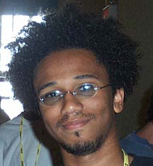 Aaron McGruder, at the 2002 Hackers on Planet Earth hacker con