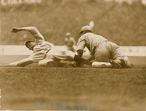 Aaron Ward (baseball) - Aaron Ward getting tagged out at 3rd during the first game at Yankee Stadium.
