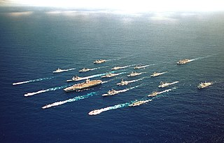 A large group of naval ships
