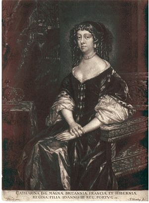 Abraham Blooteling - Catherine of Braganza, mezzotint, 1672, after Peter Lely.