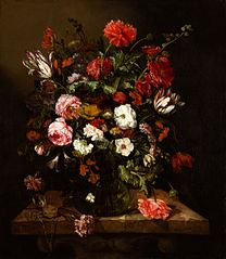 Flower Still Life with a Timepiece