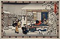 Act IX- Honzo's Suicide in Front of His Family; Yuranosuke Dressed as a Komuso Making Preparations to Attack Moronao LACMA M.66.35.54.jpg