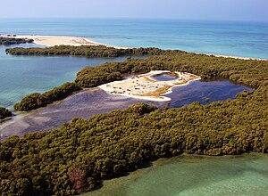 Bu Tinah - An aerial photo of the Bu Tinah island off the western coastline of Abu Dhabi