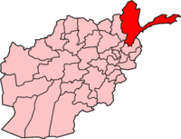 Map of Afghanistan with Badakhshan  بدخشان highlighted.