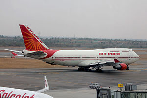 Rajiv Gandhi International Airport - An Air India Boeing 747-400 taxiing for departure to Jeddah