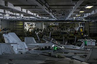 Carrier Air Wing Five - Image: Aircraft of CVW 5 in hangar of USS Ronald Reagan (CVN 76) in August 2015