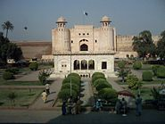 Alamgiri gate of lahore fort from the steps of badshahi mosques gate