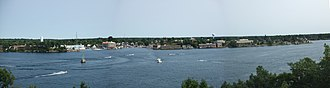Alexandria Bay, New York - A panorama of Alexandria Bay taken from nearby Boldt Castle