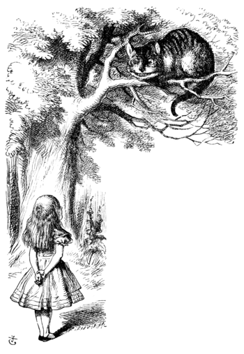 Illustration of the Cheshire Cat from the orig...