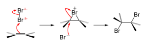 Halogen addition reaction - Bromine addition to alkene reaction mechanism