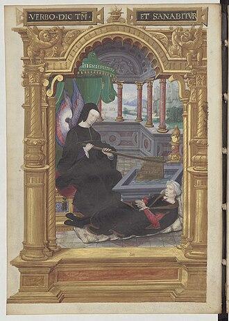 Louise of Savoy - Image: Allégorie de la régence de Louise de Savoie Gestes de Blanche de Castille BNF Fr 5715