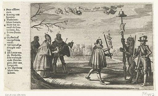 Allegorie op het afwijzen van de vredesvoorstellen gedaan door Peckius namens de Spaanse koning, 1621 Ao. 1621 Petri Peccy gedaen Vertooch (titel op object), RP-P-OB-80.971