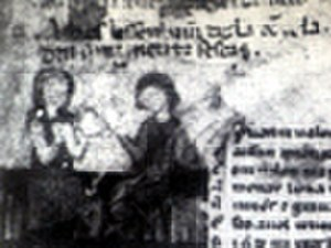 Amanieu de Sescars - Miniature depicting Amanieu instructing the donzela