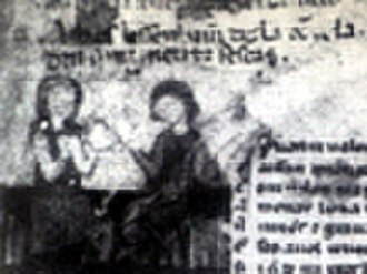 Amanieu de Sescars - Miniature depicting Amanieu instructing the donzela