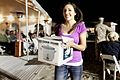 Amber Cousino won a rice cooker during the raffle at the Live, Laugh and Learn event at the Del Mar Beach Resort, Camp Pendleton, Calif., April 19, 2013 130419-M-LD192-226.jpg