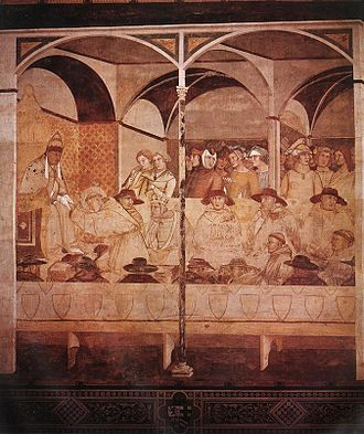 Ambrogio Lorenzetti - Investiture of Saint Louis of Toulouse, 1329.