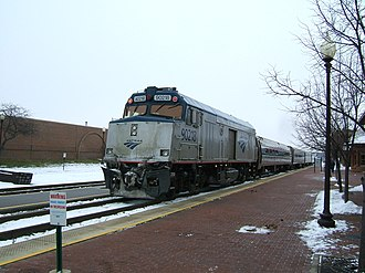 Control car - Amtrak NPCU No. 90218 (former F40PH No. 218) on the Wolverine at Kalamazoo in December 2007