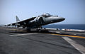 An Italian navy AV-8B Harrier aircraft takes off from the amphibious assault ship USS Kearsarge (LHD 3) in the Mediterranean Sea March 29, 2013 130329-N-UM734-115.jpg