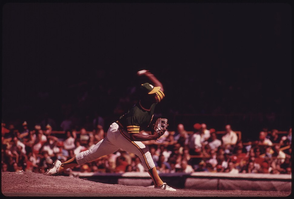 An Oakland A's Pitcher Delivers During A Game With The Home Team Chicago Cubs At Wrigley Field, 07-1973 (8674830191)