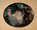 An old woman dying with her hand held by her daughter, two m Wellcome V0015170.jpg