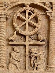 Anastasis, représentation symbolique de la Résurrection,sarcophage romain, vers 350, Musée du Vatican