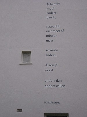 Hans Andreus - Wall poem by Andreus in The Hague