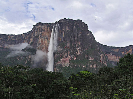 Angel Falls, the world's highest uninterrupted waterfall, in Canaima National Park, Bolivar state Angel falls in Venezuela 001.JPG