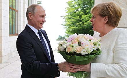 Putin held a meeting in Sochi with German Chancellor Angela Merkel to discuss Nord Stream 2 gas pipeline, 18 May 2018 Angela Merkel and Vladimir Putin (2018-05-18) 01.jpg
