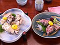 "Angler fish ""tomozu-ae"" & sashimi of sardine あんこう ともず和え 、いわし刺身 (399912803).jpg"