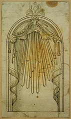 Design for a niche with drapery
