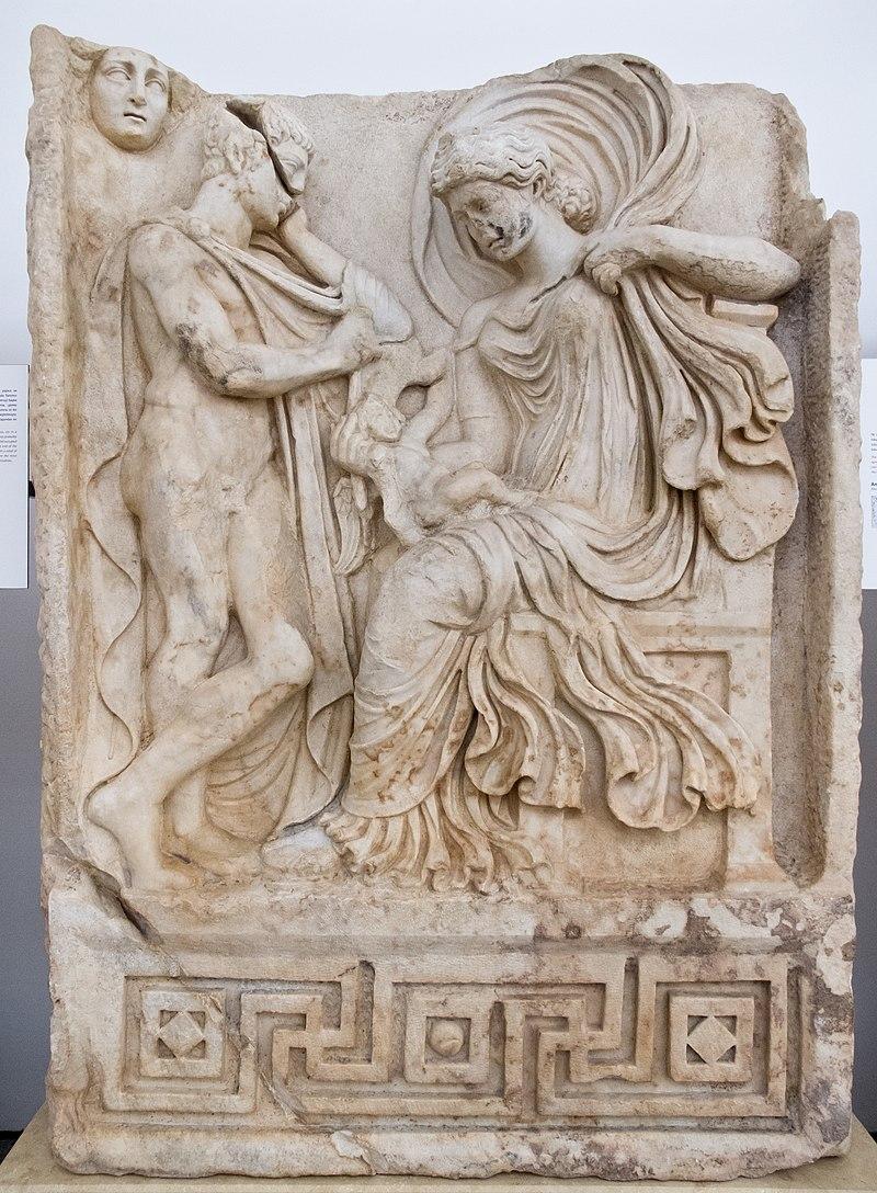 آفرودیت بر تخت نشسته در حالی که یک چوپان در کنار او ایستاده است. اثر کارلوس دلگادو