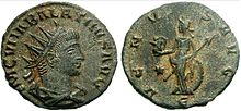 coin of Vaballathus. the obverse depicting the head of a man wearing a crown. the reverse depicts a goddess. inscriptions on both sides