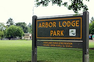Arbor Lodge, Portland, Oregon - Arbor Lodge Park with Chief Joseph Elementary School in the background