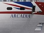 Arcadia name sign Port of Tallinn 27 June 2017.jpg